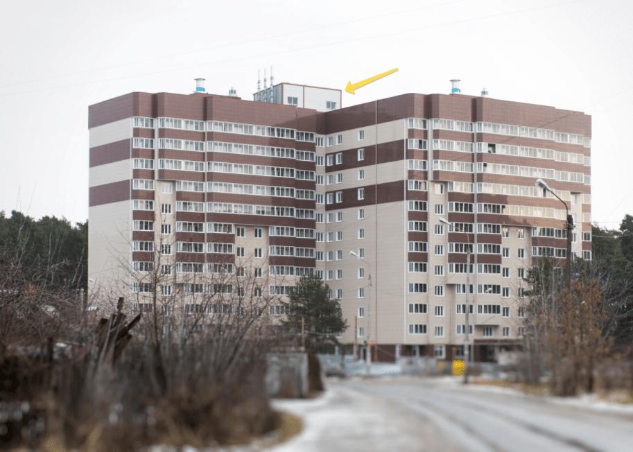 пример расположения крышной газовой котельной на крыше многоэтажного жилого дома
